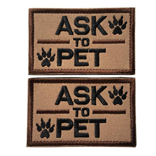 Set of 2 Service Dog/Ask to Pet Embroidered Tactical Patch Badge for Dog Pet Tactical K9 Harness Vest (Ask to Pet Brown)