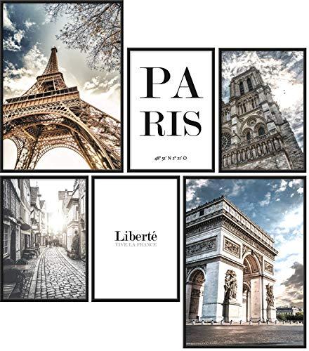 Papierschmiede® Mood-Poster Set Paris | 6 Bilder als stilvolle Wanddeko | 2X DIN A4 und 4X DIN A5 | Eiffelturm Frankreich Triumphbogen - ohne Rahmen
