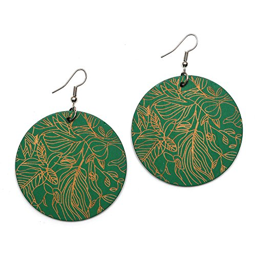 Idin Boucles d'oreilles pendantes en bois – Disques de bois verts avec motif de feuille gravé (longueur env. 70 mm, bois : 50 x 2 mm)