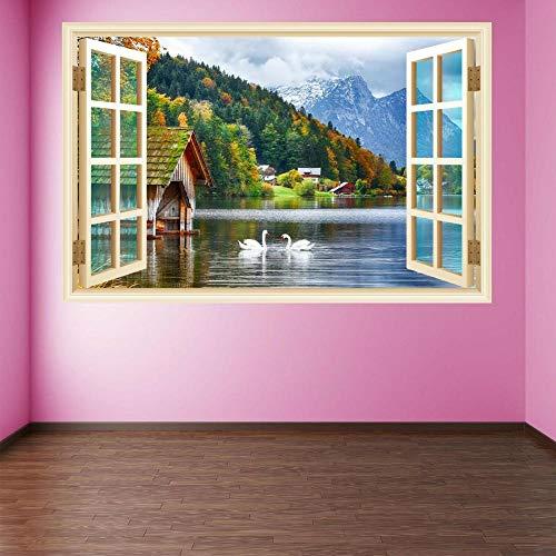 Silueta Calcomanías Alps Lake Swans Pegatinas De Pared Etiqueta Salon Dormitorio Decoración Diy Decorativas Arte Murales 60X90 Cm