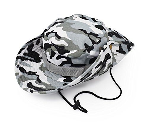 Outdoor Wide Brim Sun Protect Hat, Classic US Combat Army Style Bush Jungle Sun Cap for Fishing Hunting Camping Grey Camouflage 23