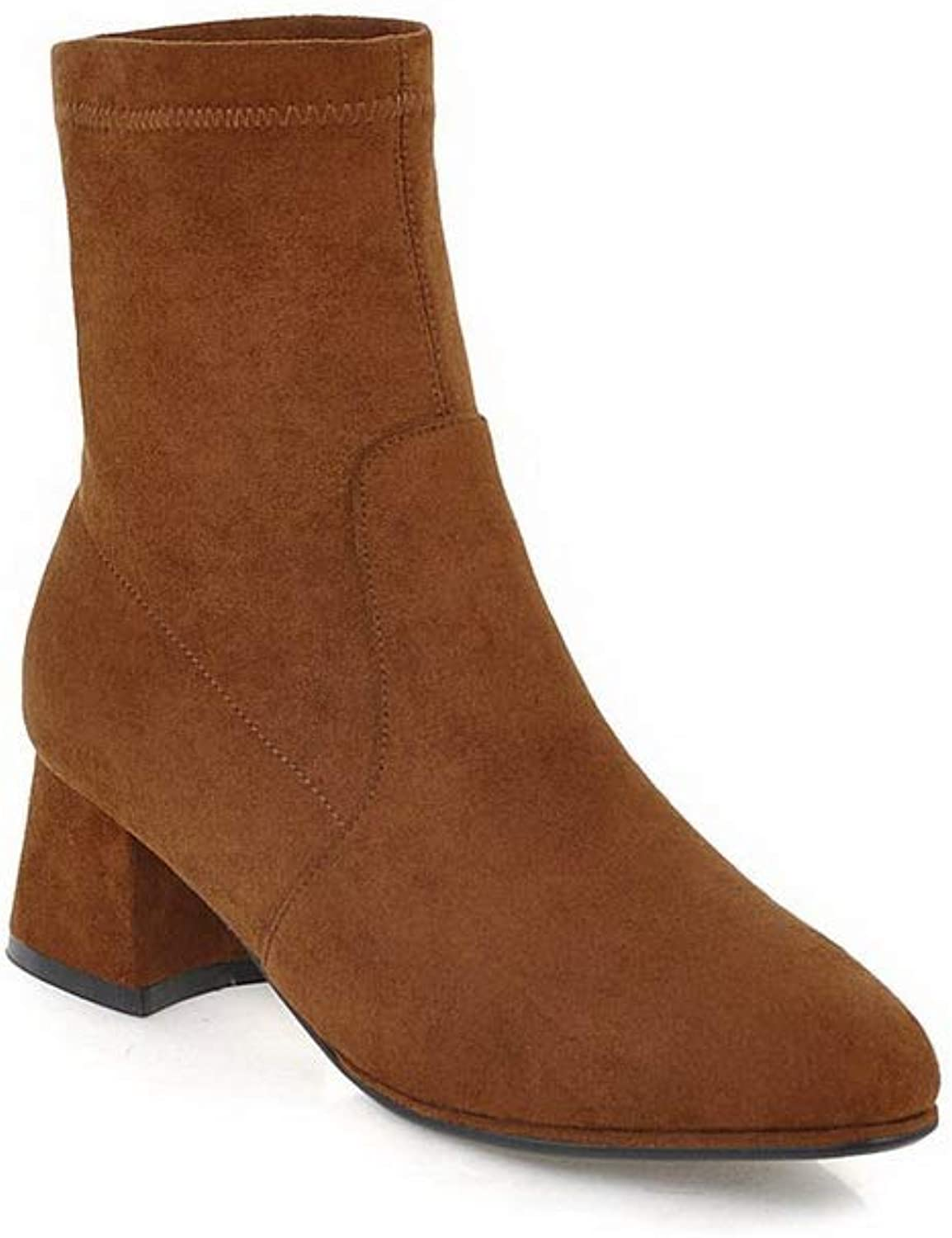AdeeSu Womens Chunky Heels Pointed-Toe Imitated Suede Boots SXC03873