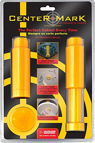 Calculated Industries 8110 Center Mark Drywall Recessed Lighting Cutout Magnetic Locator Tool for Non-LED Cans, Yellow