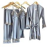 Laura Lily - Pijamas Mujer de Satén Sedoso Color Liso con Encaje Conjunto de 5 Piezas (Gris, L-XL)