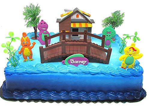 Barney Birthday Cake Topper Set Featuring Barney and Friends with Decorative Themed Accessories
