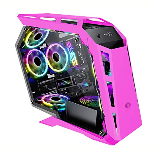 WSNBB Gaming Case, Mid-Tower M-ATX/ITX PC Gaming Computer Case,Tempered Glass Side Panel,USB 3.0,Water Cooling Case,Unique Shape Design,for Desktop PC Computer (Color : Pink)