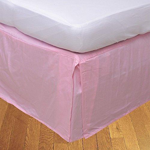 Living & Co 1 pcs en pli Creux Jupe de lit (Drop Longueur 37 cm) 100% Coton égyptien véritable de qualité Premium 300 Fils, Rose, Empereur (214 x 214 cm)