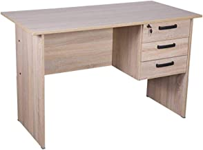 Mahmayi Solama MP1-1260 Office Desk with Fixed Lockable Drawers - Oak Brown