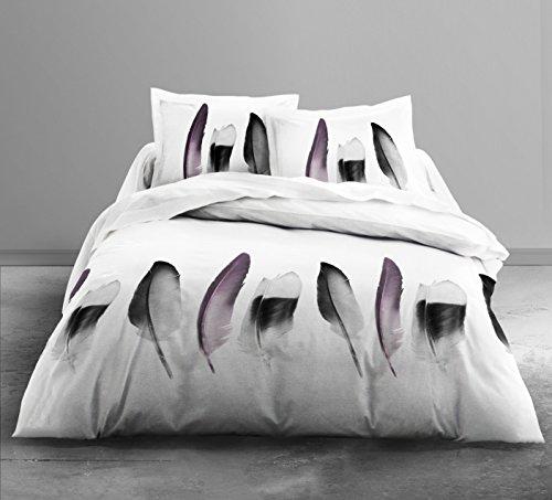 Today 015951 ENJOY Parure de lit Dessin Piuma avec 2 Taies d'oreiller Coton Blanc/Noir/Violine 240 x 220 cm