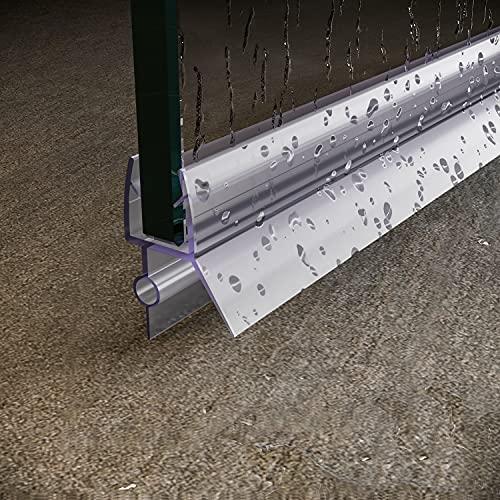 "SUNNY SHOWER Door Sweep Frameless Glass Shower Door Bottom Seal Strip Fit 1/4"" Glass, 36 Length Clear Vinyl Shower Door Seal with Drip Rail"