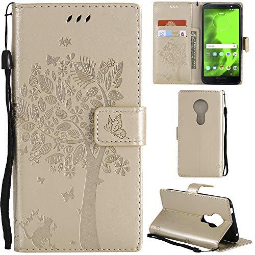 Ooboom® Motorola Moto E5 Hülle Katze Baum Muster Flip PU Leder Schutzhülle Handy Tasche Hülle Cover Standfunktion mit Kartenfächer für Motorola Moto E5 - Gold