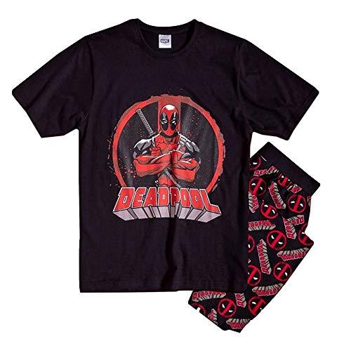 Offizielles Lizenzprodukt Deadpool-Pyjama für Herren, Marvel Superhelden-Pyjama-Set, Größe S – XL Gr. M, Deadpool