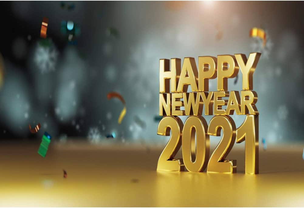 DaShan 14x10ft 2021 Happy New Year Backdrop Christmas 2021 New Year Eve Party Photography Background Gold Glitter Stars Sparkle New Year Winter Snowflake Festival Xmas YouTube Photo Props