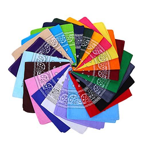 NUOBESTY 12 Piezas Pañuelos con Estampado de Paisley Pañuelo de Cabeza Cuadrada Bufanda Pulseras Pañuelos de Hip Hop para Hombre Mujer (Color Mezclado)