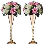 Sziqiqi Set di 2 Centrotavola per Matrimonio in Metallo Alto per Tavoli da Ricevimento, Supporto per Fiori in Oro, Base per Decorazioni per Feste, Eventi, Cerimonie di Celebrazione, Oro