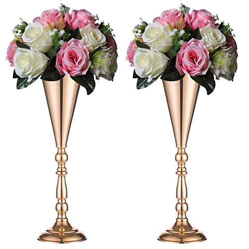 Sziqiqi Trumpet Vase Floral Centerpiece Riser Stand for Wedding Reception Centerpieces Party Event Anniversary Birthday Decoration Flower Arrangement Pack of 2, Rose Gold 16.5in
