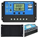 HASTHIP® LCD Display 10A amp Solar USB Charge Controller Regulator 12V/24V Auto Switch - 10a, Management System Volt Regulator 24 Panels 30a Control Outback