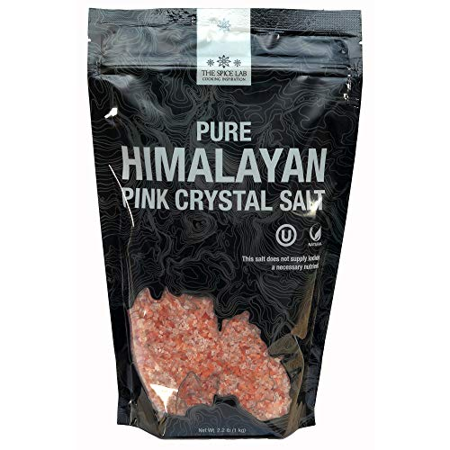 The Spice Lab Himalayan Salt - Coarse 2.2 Lb / 1 Kilo - Pink Himalayan Salt is Nutrient and Mineral Dense for Health - Gourmet Pure Crystal - Kosher & Natural Certified