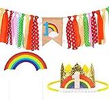 Conjunto de Decoración de Cumpleaños para Bebé de 1 Año Incluye Sombrero de Corona Adorno de Pastel de Arcoíris de Colores Banner de Silla Alta para Decoración de Fiesta de Cumpleaños