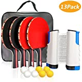 XDDIAS Raquette de Ping Pong Professionnel Set, 4 Raquette de Tennis de Table + Rétractable Filet de Table Tennis + 8 Balle, Portable Ping-Pong Accessoire (Rouge)