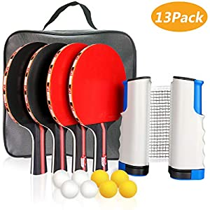 XDDIAS Conjunto de Tenis de Mesa con Red, 4 Raquetas + 8 Bolas/Pelotas de Tenis de Mesa + 1 Red Retráctil, Juego de Tenis de Mesa Portátil (Rojo)