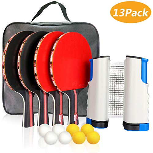 XDDIAS Instant Ping Pong Ball Set, Portable Extendable Table Tennis Game Indoor Outdoor - 4 Premium Paddles/Rackets/Bats, Adjustable Net & 8 Balls (Red)