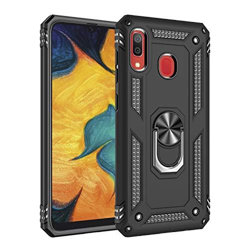 TANYO Funda Adecuado para Samsung Galaxy A20e, Anillo Metálico Soporte Función Magnética del Coche Heavy-Duty Armadura Anti-Caída Caso, Negro