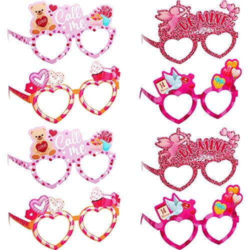 24 Piezas Gafas de San Valentn Accesorios de Foto Disfraz de Decoracin de San Valentn Gafas de Papel en Forma de Corazn Anteojos de Corazn Rojo Brillante para Mujeres Nias