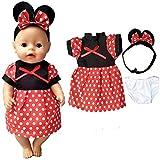 WENTS Vestiti e Accessori per Bambole 3PCS Vestito per Bambole Accessori per Vestiti Mickey Fatti a Mano Adorabili per 18 Pollici Baby Dolls Bambola American Girl Dolls bebé Bambolotti