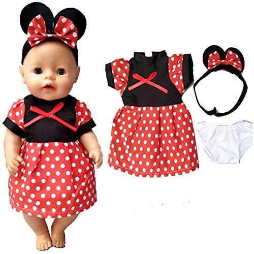 WENTS Puppenbekleidung 3PCS Mickey Bekleidungs und Zubehörset Traumkleid Bekleidung Blumenkleid Sommerkleid Puppenkleider Puppenkleidung Set für 18 Zoll Americal Girl Dolls