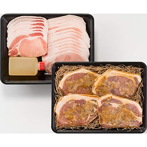 岡山県産ピーチポーク味わいセット 〔金山寺味噌漬け肉105g×4、豚肉スライス300g、くめなん柚子塩ぽん酢200g〕 豚肉 調味料 詰め合わせ