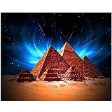 Cuadros Diamantes 5D - Pirámide De Egipto 5D Diy Diamante Pintura - Cuadrado Completo Taladro Redondo Mosaico Bordado De Diamantes Vista Del Cielo Punto De Cruz Artesanía Para El Hogar Decoración