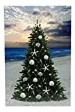 Beachcombers Coastal Life Christmas Tree on The Beach with Sand Dollars and Starfish LED Lighted Canvas Print