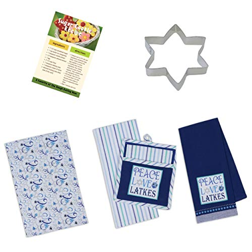 Holly Lines Hanukkah Kitchen Towels Pot Holder Cookie Cutter and Recipes Bundle, Three 100% Cotton 18 x 28 Hanukkah Tea Towels, Matching Pot Holder/Oven Mitt, Cookie Cutter, and Sugar Cookie Recipes