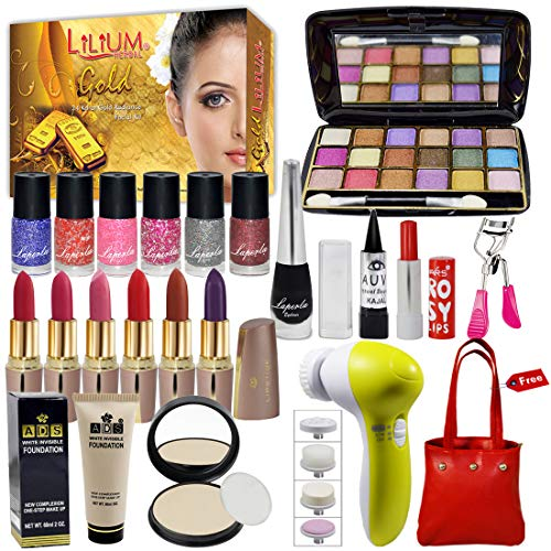 Laperla Exclusive Beauty Combo Makeup Set With Gold Facial Kit,Massager & Handbag