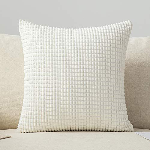 MIULEE 1 Stück Kordsamt Soft Solid Dekorative Quadrat Wurf Kissenbezüge Set Kissen Fall für Sofa Schlafzimmer 26 x 26 Zoll 65 x 65 cm Big Corn Weiß