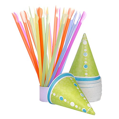 Hawaiian Shaved Ice 25-Count Paper Snow Cone Cups and Spoon Straws, Multi-Colored