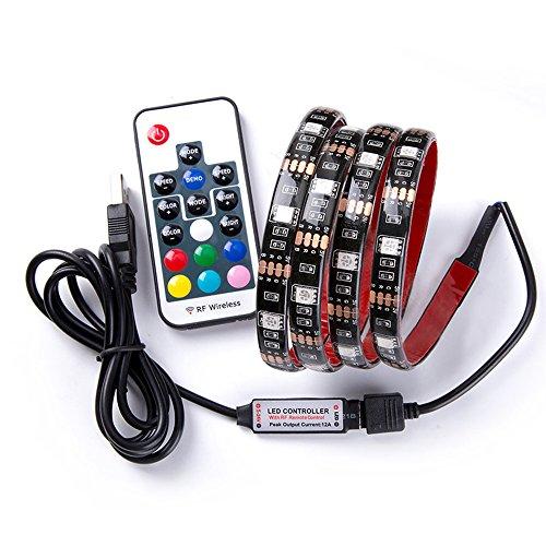 Renohef USB RGB Tiras LED,2m/78inch 30leds/m 5V Multicolor Impermeable RGB Tiras LED Kit de iluminación,con 17 teclas RF Control remoto,Lámpara de fondo de TV, Iluminación de decoración del hogar