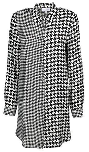 Just White Damen Long Bluse Größe 44 EU Schwarz (schwarz/weiß)
