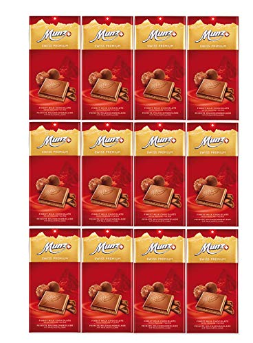 Munz Schokolade Milch Praliné | Feine Milchschokolade | 12 Tafeln á 100g | Edle Schokolade | Swiss Premium Chocolate Praline Filling | Großpackung 1,2 kg Schokoladentafeln aus der Schweiz