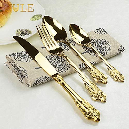 Vintage Western Cubiertos chapados en oro 24 piezas Cuchillos de comedor Tenedores Cucharillas Juego de vajilla de lujo dorado Juego de vajilla de grabado-1 juego 24 piezas