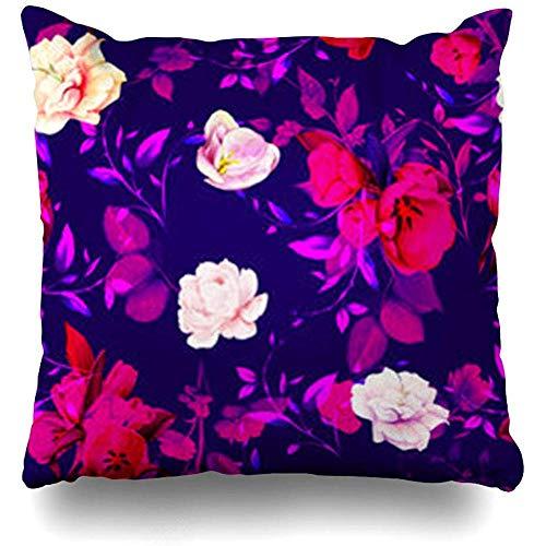 Cojines del sofá Color Rojo Patrón floral Flores Tulipanes Hojas Gladiolo Sobre negro Acuarela abstracta Bloom Funda de cojín de primavera Cuadrado 45X45cm Funda de almohada decorativa para el hogar Funda de almohada