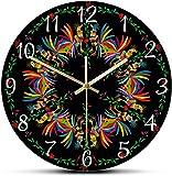 Grande decoración pared reloj selva animales otomi cultura ingenuo impresión pared reloj de pared coloridos gallos mediterránea estilo silencioso barrido reloj mexicano decoración popular fácil de lee