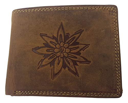 Shoppzauber - Portafoglio in vera pelle con stella alpina rustica