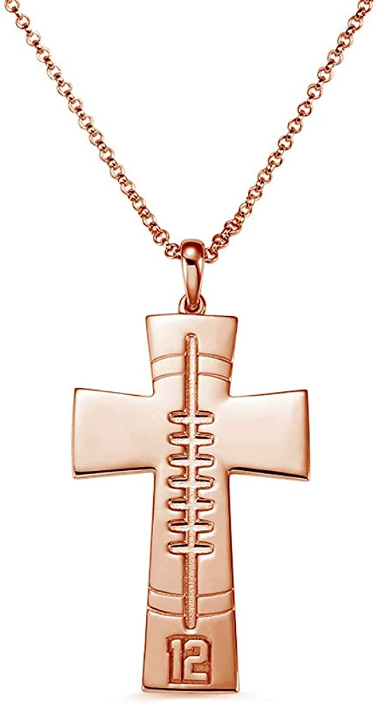 Suxerlry Personalized Football OFFicial store Cross Sterling Necklace Financial sales sale 925 Silve