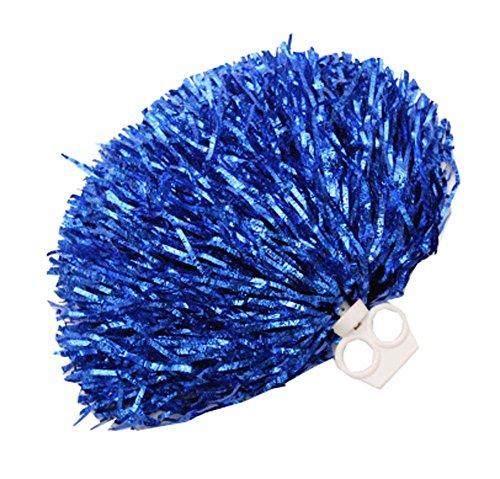 Black Temptation 2 PCS Feuille métallique et Anneau en Plastique Pom Poms Cheerleading, Bleu