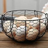 Prevessel Cesta para huevos y soporte – Cesta redonda de alambre con asas,...