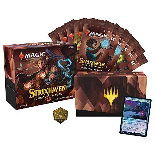 Magic: The Gathering Strixhaven Bundle, 10 potenciadores de Borrador (150 Tarjetas mágicas) y Accesorios, Multicolor
