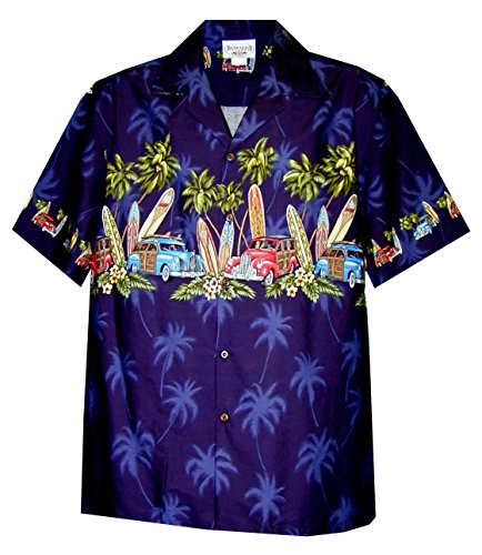 Pacific Legend Men's Old Time Woodie Surfboard Hawaiian Shirt Navy Blue Large