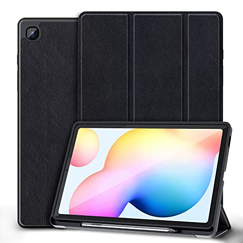 Kdely Custodia Cover Compatibile con Samsung Galaxy Tab S6 Lite 10.4 Pollici 2020 con Supporto Penna/Auto Sveglia / Sonno Ultra Sottile Custodia in TPU Morbido Cases, Black